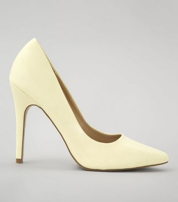 Yellow Patent Pointed Court Shoes