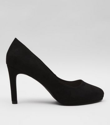 Black Comfort Suedette Platform Court Shoes