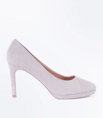 Grey Comfort Suedette Platform Court Shoes