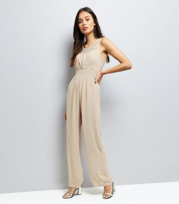 Mela Cream Tie Waist Sleeveless Jumpsuit