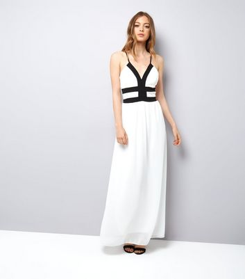 Mela White Contrast Trim Maxi Dress