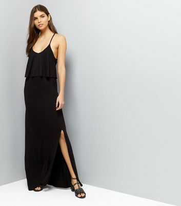 Black Layered Cross Strap Back Maxi Dress