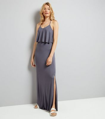 Grey Layered Cross Strap Back Maxi Dress