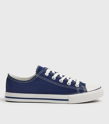 Blue Canvas Contrast Lace Up Trainers