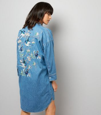 Blue Embroidered Back Oversized Shirt Dress