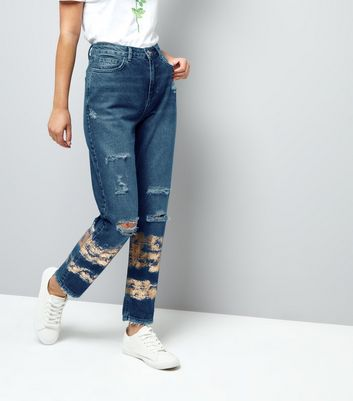 Blue Ripped Foil Print Tori Mom Jeans