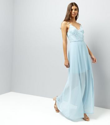 Pale Blue Lace Panel Strappy Maxi Dress