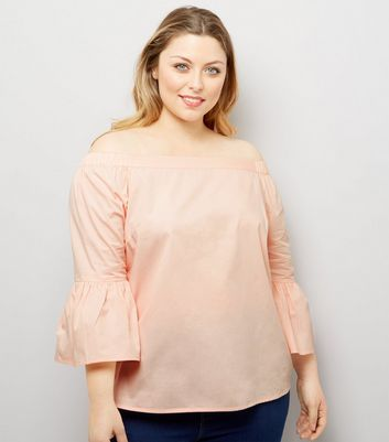 Curves Shell Pink Bell Sleeve Bardot Neck Top