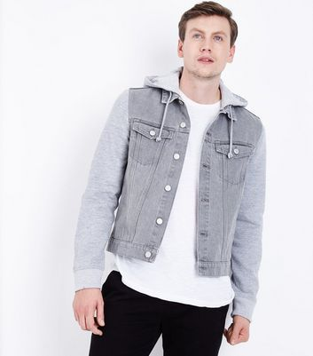 Grey Jersey Sleeve Denim Jacket