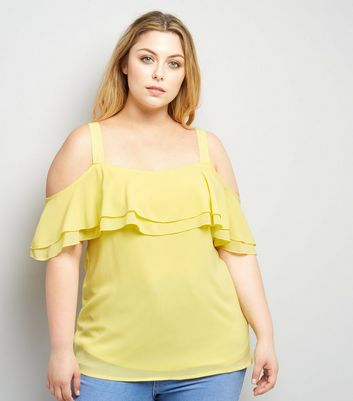 Curves Yellow Cold Shoulder Frill Trim Top