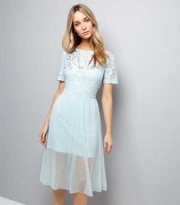 Pale Blue Lace Embroidered Skater Dress