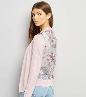 Pink Floral Embroidered Cardigan