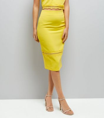 Yellow Lace Trim Pencil Skirt