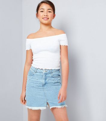 Teens Pale Blue Pearl Embellished Denim Skirt
