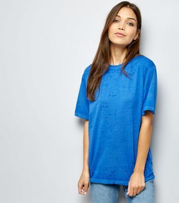Blue Ripped Short Sleeve T-Shirt