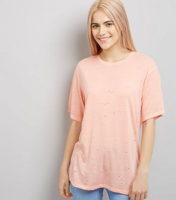 Bright Orange Ripped Short Sleeve T-Shirt