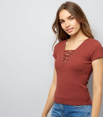 Brown Lace Up Front Ribbed T-Shirt