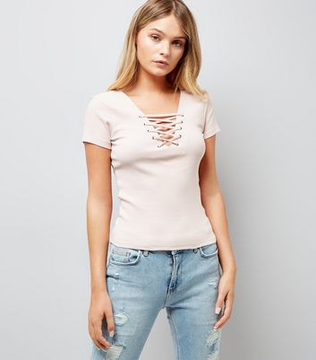Pink Lace Up Front Ribbed T-Shirt