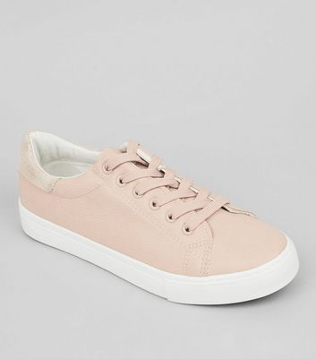 Pink Metallic Back Trainers