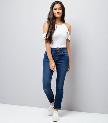 Teens Navy High Waist Jeans