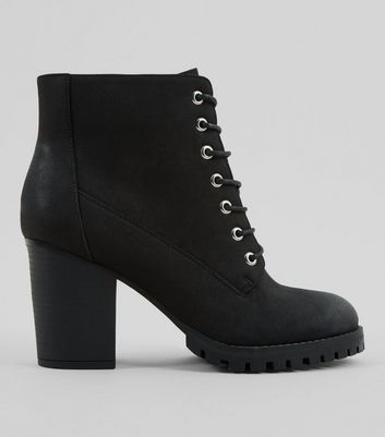 Wide Fit Black Lace Up Heeled Biker Boots