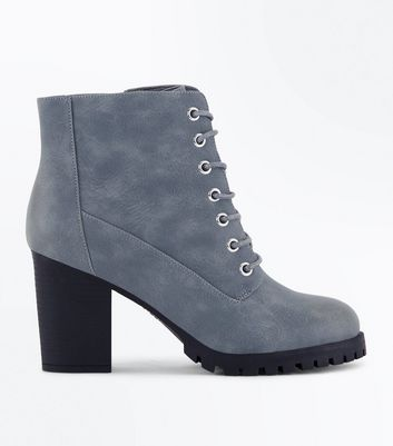 Wide Fit Grey Lace Up Heeled Biker Boots