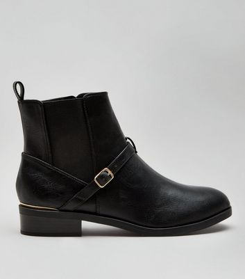 Wide Fit Black Buckle Strap Metal Trim Boots