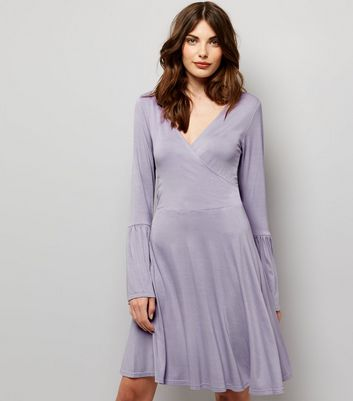 Lilac Bell Sleeve Wrap Front Dress