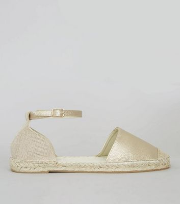 Wide Fit Gold Espadrille Sandals