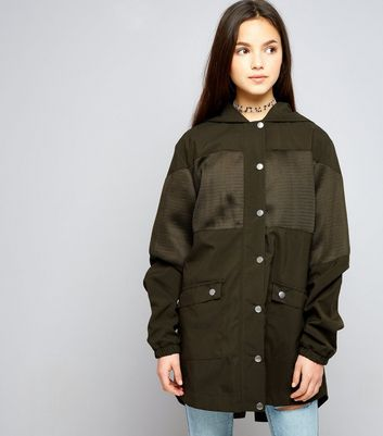 Teens Khaki Mesh Panel Parka