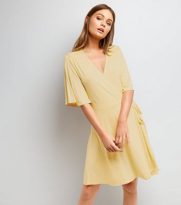 Yellow Wrap Front 1/2 Sleeve Skater Dress
