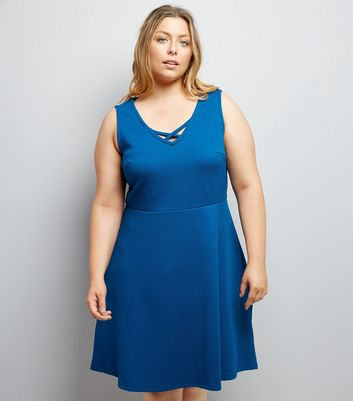 Curves Blue Lattice Neckline Skater Dress