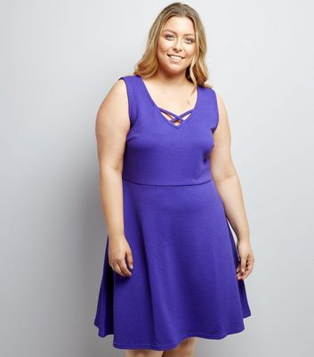Curves Purple Lattice Front Jacquard Skater Dress
