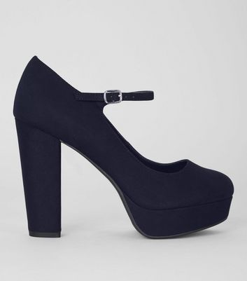 Wide Fit Navy Suedette Platform Heels