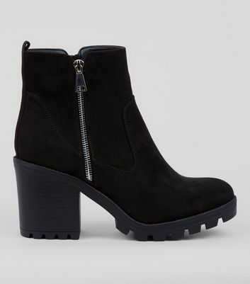 Wide Fit Black Chunky Side Zip Ankle Boots