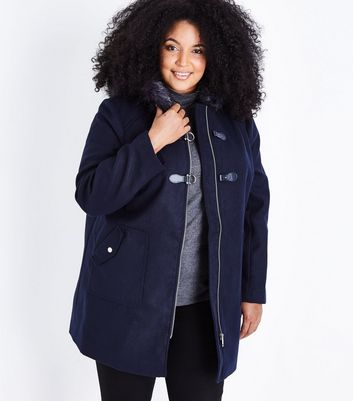 Curves Navy Blue Hooded Duffle Coat