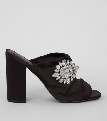 Black Satin Chunky Crystal Embellished Block Heels