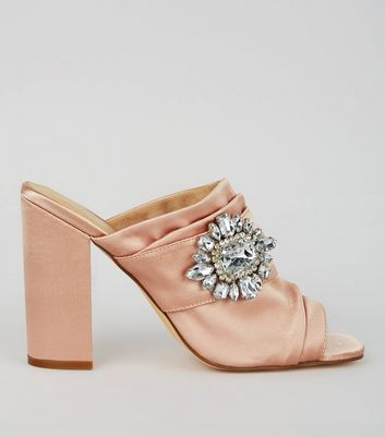 Pink Satin Chunky Crystal Embellished Block Heels