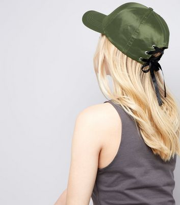 Khaki Satin Lace Up Eyelet Cap