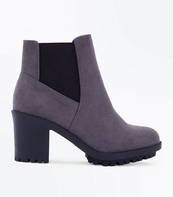 Wide Fit Grey Suedette Heeled Chelsea Boots