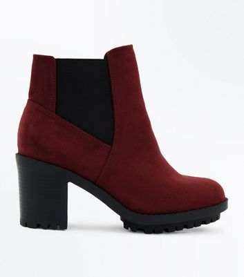 Wide Fit Burgundy Suedette Heeled Chelsea Boots