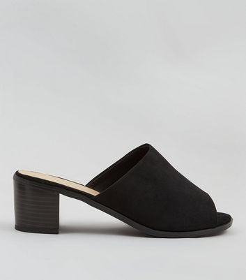 Wide Fit Black Suedette Mules