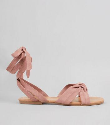 Pink Ankle Tie Sandals