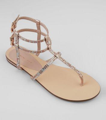 Rose Gold Diamante Stud Gladiater Sandals