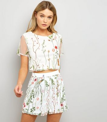 Parisian White Floral Embroidered Mesh Shorts
