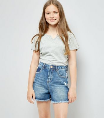 Teens Blue Frayed Side Seam Denim Shorts