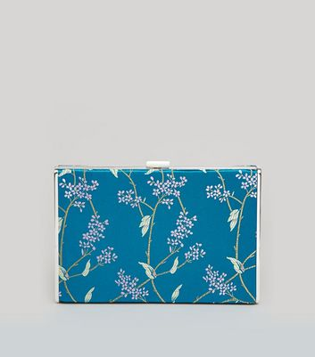 Turquoise Floral Brocade Satin Box Bag