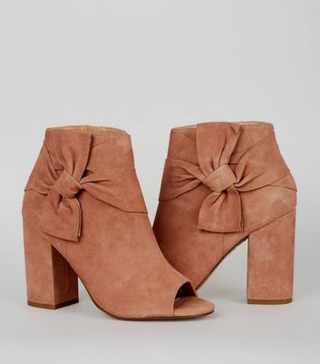 Nude Pink Suede Bow Strap Peep Toe Boots
