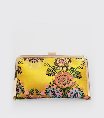 Yellow Sateen Floral Brocade Print Clutch