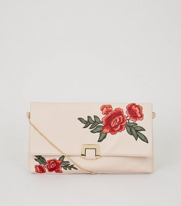 Nude Floral Embroidered Clutch Bag